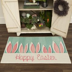 Celebrate the sweetness of the springtime season with this Mohawk Home Prismatic Bunny Ears Accent Rug that is ideal for entryways, kitchens, powder rooms, covered porches or anywhere you'd like to add some festive fun.