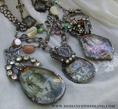 Romancing the Bling - altered art jewelry Jewelry Art, Jewelry Crafts, Antique Jewelry, Beaded Jewelry, Vintage Jewelry, Fashion Jewelry, Jewelry Design, Jewlery, Jewellery Box
