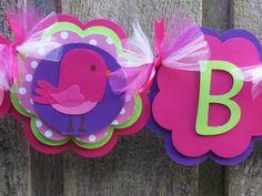 Girl Happy Birthday Banner Bird Flower Diecut Party Decoration, Happy First Birthday, Happy Birthday on Etsy, $31.00
