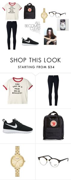 """school day"" by kvitoria ❤ liked on Polyvore featuring Frame Denim, NIKE, Fjällräven, Kate Spade and Ray-Ban"