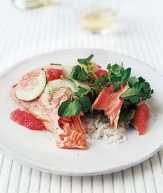 Citrus Salmon With Watercress Salad from realsimple.com #myplate #protein #vegetables