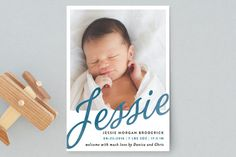 Sweeping Name Birth Announcement Postcards by Alethea and Ruth at minted.com