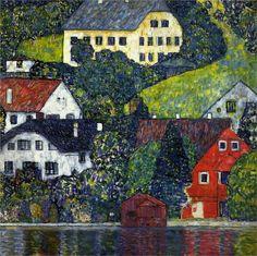 Houses at Unterach on the Attersee ~ Gustav Klimt | Lone Quixote #gustavklimt #klimt #artnouveau #nouveau #art