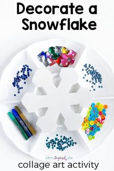 Snowflake winter craft activity for kids. This winter process art activity is a great way to develop fine motor skills and creativity! Winter Activities for Kids Winter Activities For Kids, Winter Crafts For Kids, Kids Crafts, Arts And Crafts, Art For Kids, Winter Crafts For Preschoolers, Time Activities, Easy Crafts, Art Activities For Preschoolers