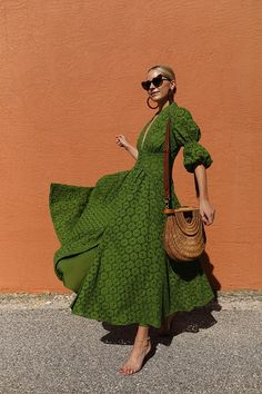 Atlantic-Pacific : Blair Eadie wearing a Cult Gaia eyelet dress with a Staud straw bag and Lele Sadoughi hoop earrings // Sunglasses by Saint Laurent // Click through for more vacation style and warm weather looks on Atlantic-Pacific Trendy Outfits, Summer Outfits, Fashion Outfits, Summer Dresses, Maxi Dresses, Rave Outfits, Fashion Clothes, Evening Dresses, Wedding Dresses