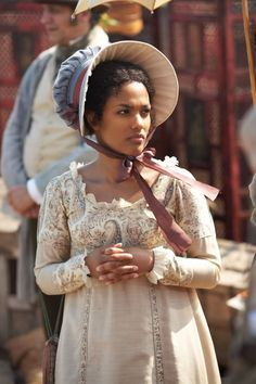 Freema Agyeman as Tattycoram in 'Little Dorrit' (TV Mini-Series, Costumes by Barbara Kidd. Regency Dress, Regency Era, Period Costumes, Movie Costumes, New Amsterdam, Historical Costume, Historical Clothing, Period Piece Movies, Recycled Costumes