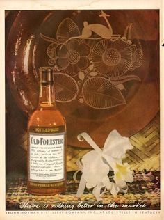 1944 Old Forester Whiskey Vintage Bottle Orchid PRINT AD