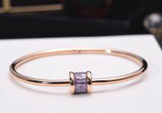 Gorgeous Bulgari inspired Finley Rose Gold Bangle Bracelet with Crystal - Pearl + Creek  #inspired #bangle #bracelet #amethystcrystal #rosegoldbracelet #pearlandcreek #fashionbracelet