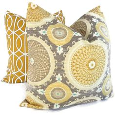 Many patterns to order  Yellow and Gray Suzani Decorative Pillow Cover 18x18 by PopOColor, $35.00