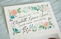 Girl birth announcement baby watercolor girl flowers coral pink tiffany blue calligraphy paint.  via Etsy.