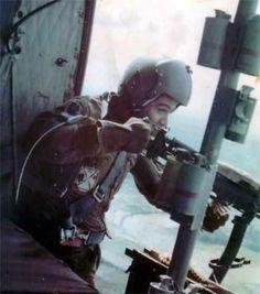 Huey door gunner - Vietnam War. #VietnamWarMemories