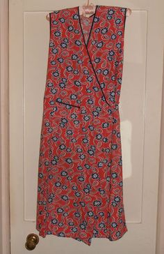 1940s-50s RED-BLUE FLORAL COTTON WRAP AROUND PINNY-APRON | eBay