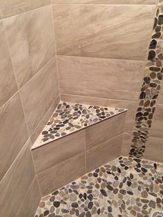 River Stone And Ceramic Tile Shower Stall With Bench More