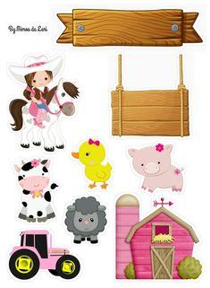 Topo de Bolo Fazendinha para editar e imprimir grátis - Mimo Kids Baby Girl Birthday Theme, Cow Birthday, Animal Birthday, Farm Animal Party, Barnyard Party, Farm Party, Cowgirl Party, Farm Theme, Card Tags
