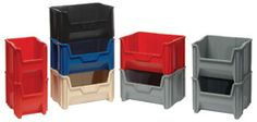 Giant Stacking Bins (QGH): This bin will stack up to 6 bins high creating a sturdy, tall storage system. Stacking Bins, Red High, Locker Storage, Container, Green