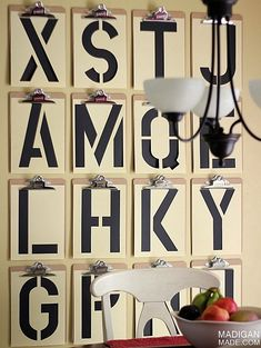 Typography DIY wall art - I see signage for my boys room in bright colors...