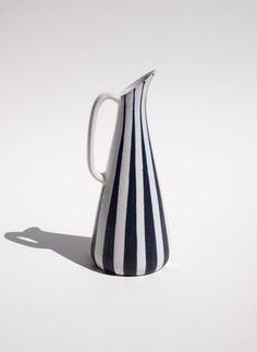 Mid Century Modern Pottery Hoganas Striped Pitcher