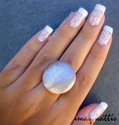 Genial uña francesa. #uñas #boda Marble Nail Designs, Diy Nail Designs, Cute Nails, Pretty Nails, Hair And Nails, My Nails, Perfect Nails, French Nails, Manicure And Pedicure