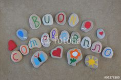 "Download the royalty-free photo ""Buon Compleanno, Happy Birthday in italian on carved stones "" created by Ciaobucarest at the lowest price on Fotolia.com. Browse our cheap image bank online to find the perfect stock photo for your marketing projects!"