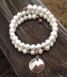 2015 Graduation Penny Bracelet with Memory Wire, Freshwater Pearls and a 2015 Penny with Copper Tone Bail