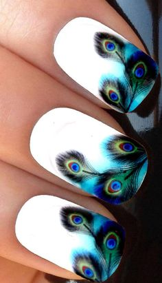 Peacock Feather nail decals, very pretty, bright stickers with unique designs. Peacock Feather nail stickers made on high quality decal paper. These decals can be applied to any type of nails (regular polish, soak off gel, hard gel and acrylic). Peacock Nail Designs, Peacock Nail Art, Nail Art Designs, Feather Nail Art, Peacock Design, Feather Design, Nail Art Set, Cool Nail Art, Cute Nails