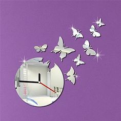Dudu 17.5H Modern Style Cartoon Wall Paper Buterfly Home Decoration 3D DIY Acrylic Mirror Wall Clock -- Amazing product just a click away  : home diy wall