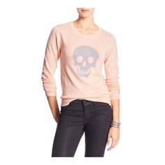 "NWT Banana Republic Skull Sweater XS (S can wear) Brand new with tags, so cool!!! Skull lightweight sweater in ""wispy pink"" by Banana Republic. Size XS but I wear small and last pic shows it fits XS or Small. 23"" in length, cotton/rayon/viscose/nylon blend, machine wash on cold, gentle. Banana Republic Tops"