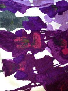 vintage heals purple pansies howard carter barkcloth fabric