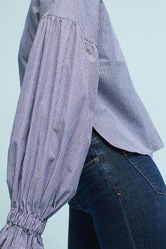 Slide View: 2: Tie-Sleeve V-Neck Blouse