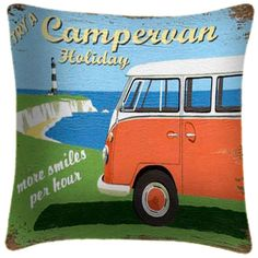 VW Camper More Smiles - Martin Wiscombe - Art Print Cushion £34.99