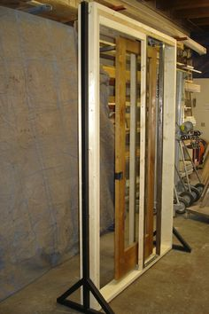 Open Wall Display Showing Christner S Pocket Door Frame With A Attached