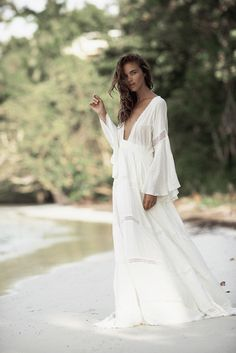 white maxi bohemian chic bride