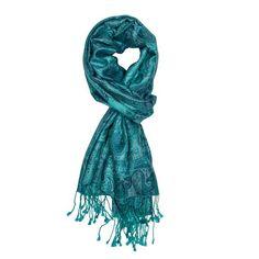 Steel Blue Jamavar Silk Scarf