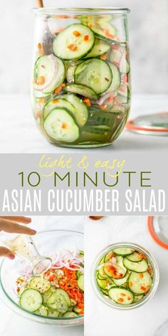 10 Minute Asian Cucumber Salad Recipe made with crunchy cucumber onion rice wine vinegar and a few secret ingredients! An easy Cucumber Salad that's guaranteed to be a hit. Light refreshing and super flavorful - makes the perfect side dish or condiment. Asian Cucumber Salad, Cucumber Recipes, Cucumber Ideas, Cucumber Juice, Recipes With Cucumbers, Cucumber Snack, Cucumber Salad Dressing, Pickled Cucumber Recipe Asian, Healthy Eating Recipes