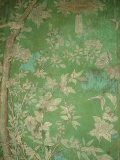 Blue green, Eighteenth Century Chinese wallpaper at Bentley House Chinese Wallpaper, Green Wallpaper, Fabric Wallpaper, Wall Wallpaper, Oriental Wallpaper, Typography Wallpaper, Accent Wallpaper, Beautiful Wallpaper, Chinoiserie Wallpaper