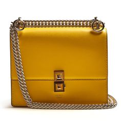 Fendi Kan I small leather cross-body bag Chain Shoulder Bag, Crossbody Shoulder Bag, Shoulder Handbags, Leather Crossbody Bag, Leather Purses, Leather Shoulder Bag, Shoulder Bags, Leather Handbags, Yellow Leather