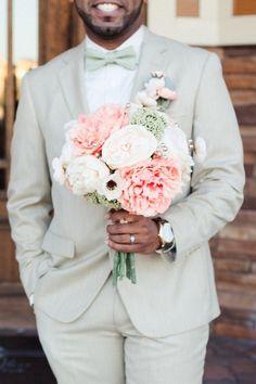 Peach & Green Wedding Bouquet