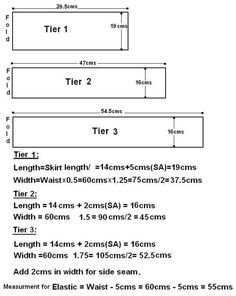 Here you can learn Tiered Skirt Measurements,Pattern Cutting,Sewing step by step. Here you can learn Tiered Skirt Measurements,Pattern Cutting,Sewing step by step instructions with Skirt Patterns Sewing, Sewing Patterns Free, Sewing Tutorials, Skirt Sewing, Diy 2019, Pattern Cutting, Fashion Sewing, Sewing For Kids, Sewing Techniques