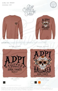 Alpha Delta Pi | ADPi | Halloween Date Dash | Halloween Date Night | Alpha Delta Pi | ADPi | Sorority Long Sleeve Tee | South by Sea | Sorority Shirts | Sorority Tanks | Greek Shirts