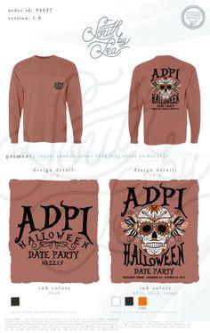 Alpha Delta Pi | ADPi | Halloween Date Dash | Halloween Date Night | Alpha Delta Pi | ADPi | Sorority Long Sleeve Tee | South by Sea | Sorority Shirts | Sorority Tanks | Greek Shirts