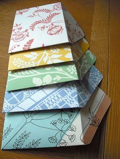 Homemade Envelopes using scrapbook paper.  Would love to get these in the mail!