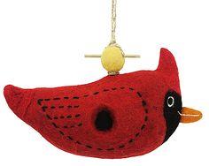 Wild Woolies Felt Bird House Cardinal