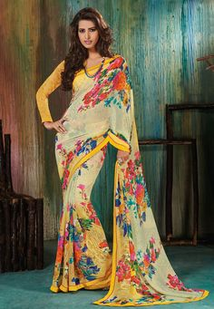 Yellow Color Georgette Designer Saree With Georgette Blouse Piece