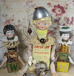 Doll Baby Powder Assemblage Art Angel SALE von ferrytalesgifts, $37,05