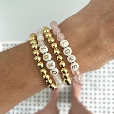 Alexandra Gioia bracelets are perfect for layering! Shop our stackable druzy bracelets and create an arm party not to be missed! Letter Bead Bracelets, Diy Beaded Bracelets, Making Bracelets With Beads, Bracelet Crafts, Cute Bracelets, Handmade Bracelets, Bracelet Making, Jewelry Making, Braclets Diy
