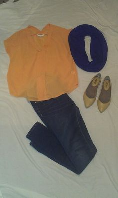 MAY 22: orange chiffon top, navy infinity scarf, jeans, nude flats