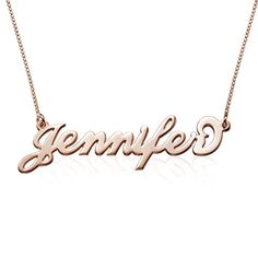 18k Rose Gold Plated Silver Name Necklace 18 Inches -- You can find more details by visiting the image link.