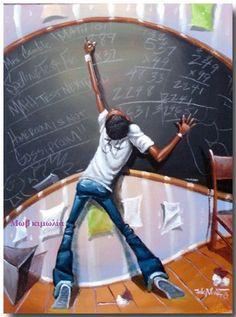 """""""Mathematics, Cutest Kidz Collection"""" by Frank Morrison African American Artwork, African Art, Caricatures, Frank Morrison Art, Wal Art, Black Artwork, Afro Art, Black Women Art, Types Of Art"""