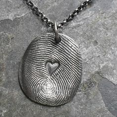 Fingerprint Necklace in Fine Silver with Heart