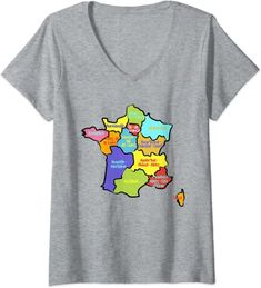Amazon.com: Womens Hand drawn France map, colorful Map of France with Regions V-Neck T-Shirt: Clothing France Map, Branded T Shirts, V Neck T Shirt, Hand Drawn, Fashion Brands, How To Draw Hands, Colorful, Amazon, Clothing